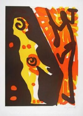 "A. R. Penck ""Rächer (Gelb Orange) I"""