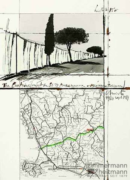 "Christo ""The Curtains / Manciano (1989) """