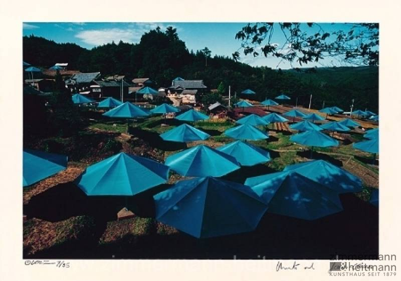 "Christo ""Umbrellas Jinba Blue"""