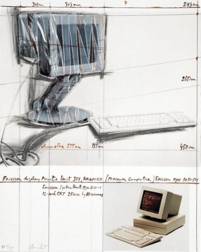 "Christo ""Wrapped Display Monitor 1985 """