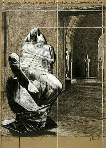 "Christo ""Wrapped Statues Sleeping Fawn"""