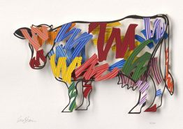 Cow – Brushstrokes (Papercut) von David Gerstein