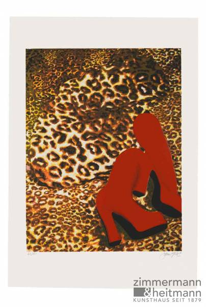 "James Francis Gill ""Cheetah Nude With Red Boots"""