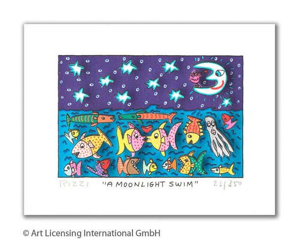 "James Rizzi ""A Moonlight Swim"""
