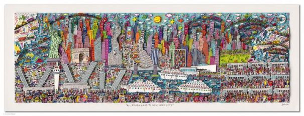 "James Rizzi ""All Roads Lead To New York City - gerahmt"""