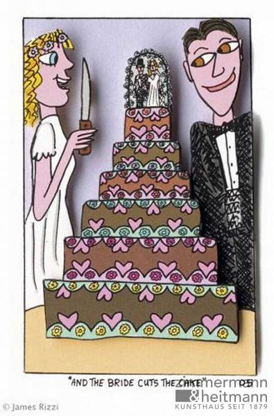 "James Rizzi ""And the Bride cuts the Cake"""