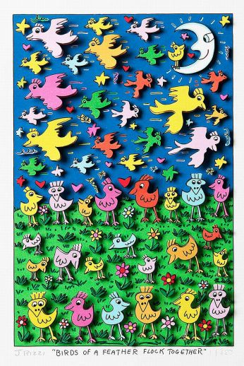 "James Rizzi ""Birds of a feather flock together"""