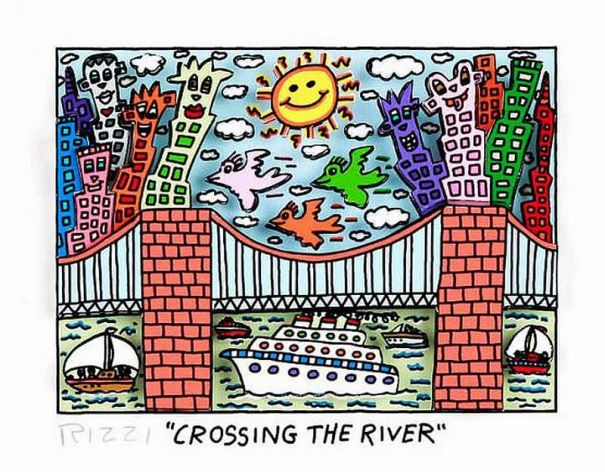 James Rizzi - Crossing the River