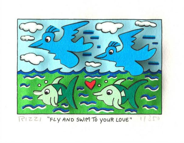 "James Rizzi ""Fly and swim to your Love"""