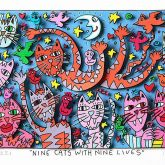 Nine cats with nine lifes von James Rizzi aus dem Jahr 2013