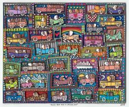 "James Rizzi ""Road Trip and a Cruise Ship"""