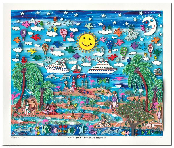 "James Rizzi ""Let's Take A Trip To The Tropics"""