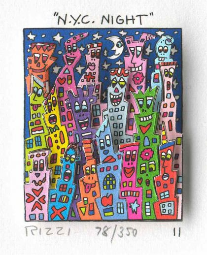 "James Rizzi ""N.Y.C. New York City Night - gerahmt"""