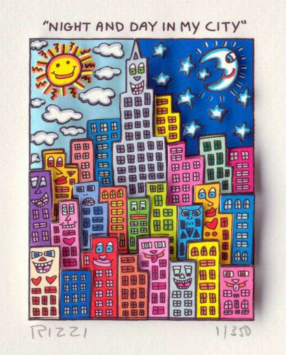 "James Rizzi ""Night and Day in my City - gerahmt"""