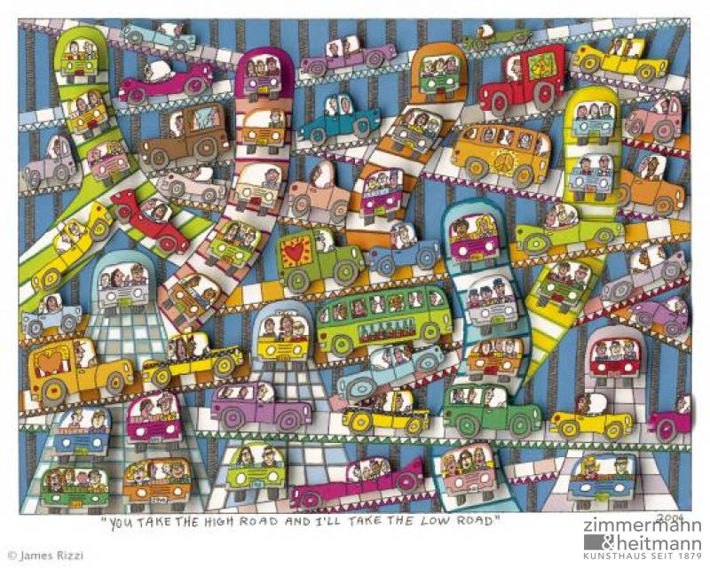 "James Rizzi ""You Take The Hight Road And I'll Tahe The Low Road - Gerahmt"""