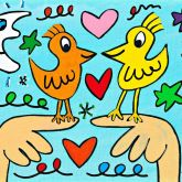 "James Rizzi ""Love those love Birds"""
