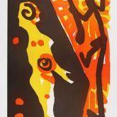 """A. R. Penck """"Rächer (Gelb Orange) I"""""""