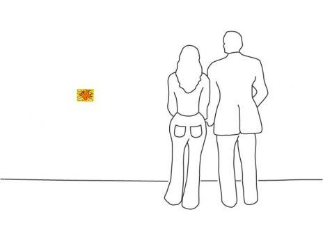 """James Rizzi """"Rizzi Bird (Orange on Yellow)"""""""