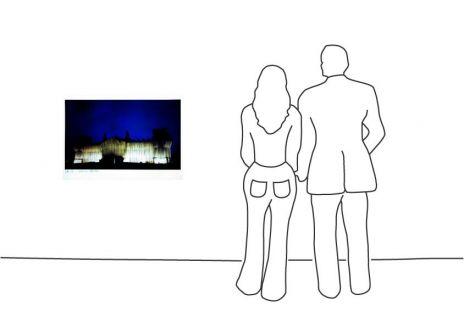 """Christo """"Reichstag Westfassade tiefe Nacht"""""""
